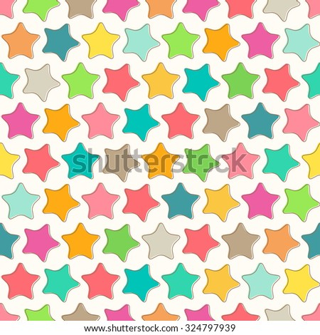 Abstract seamless pattern with bright colorful stars on a white background. Lovely childish backdrop for wrapping, packaging, textile and interior decoration - stock vector
