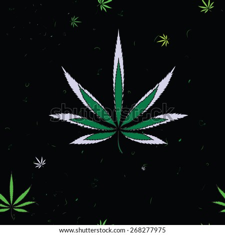 Abstract seamless pattern with cannabis leaves and scratches