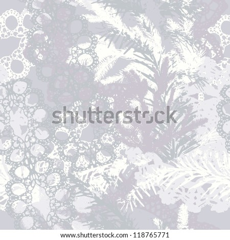 Abstract seamless pattern with Christmas tree and lace Background with Christmas tree and lace grunge texture