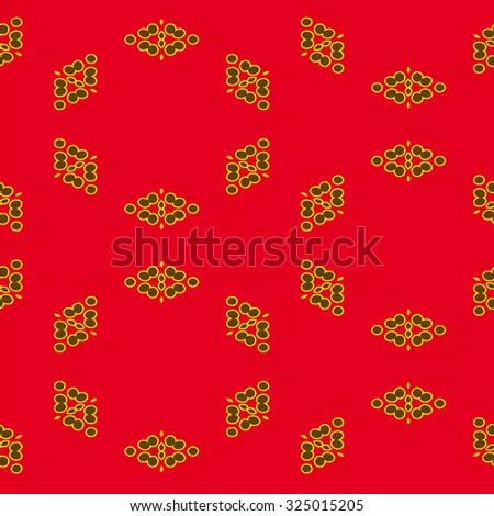 Abstract seamless pattern with circles on red background - stock vector