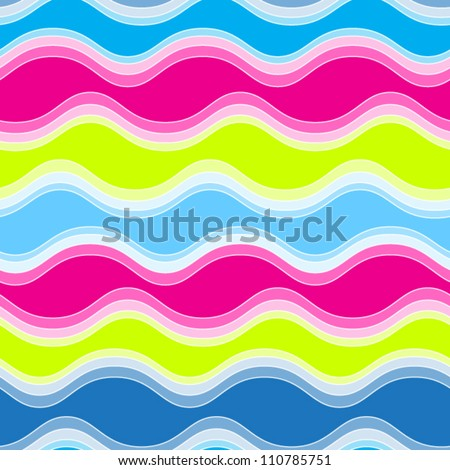 Abstract seamless pattern with color waves.vector illustration - stock vector