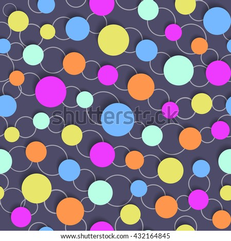 Abstract seamless pattern with colored circles and soft shadow. 3d effect. Vector eps10 - stock vector