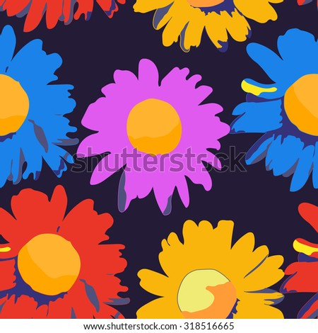 Abstract seamless pattern with colorful isolated flowers on dark blue background. Vector illustration. - stock vector