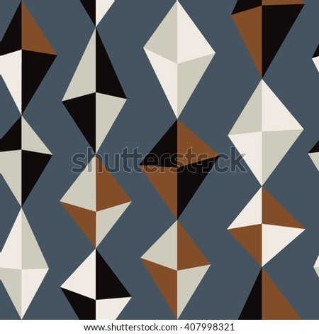 Abstract seamless pattern with colorful rhombus. Stylized simple texture for your design. Nice abstract background with geometrical figures.  - stock vector