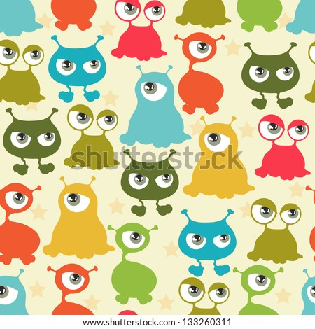Abstract seamless pattern with cute monsters. - stock vector
