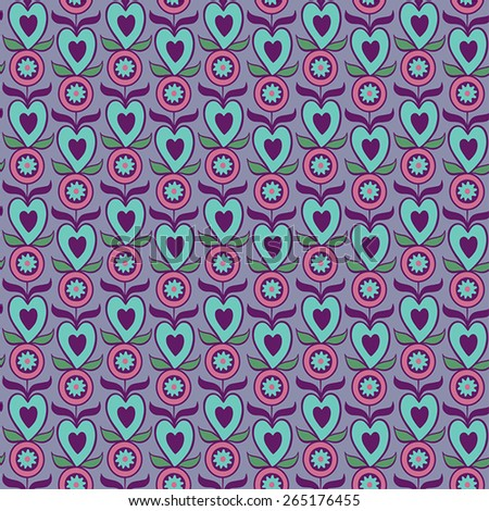Abstract seamless pattern with decorative flowers and heart - stock vector