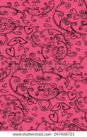 Abstract  seamless pattern with floral and swirls elements