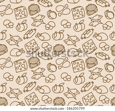 stock vector abstract seamless pattern with food 186205799 - Каталог — Фотообои «Еда, фрукты, для кухни»