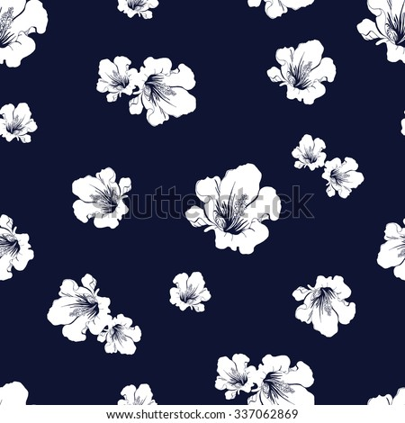 Abstract seamless pattern with hand drawing isolated white flowers silhouettes on dark blue background. Vector illustration. - stock vector