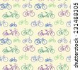 Abstract seamless pattern with hand drawn bicycles. - stock