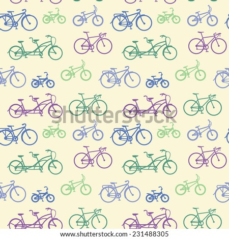 Abstract seamless pattern with hand drawn bicycles. - stock vector