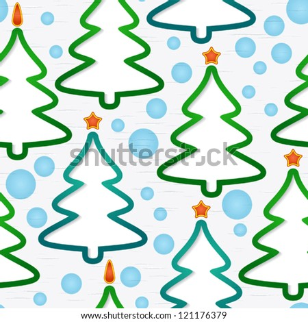 Abstract seamless pattern with holidays christmas-trees and snowflakes. Vector illustration. EPS-10.