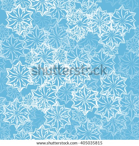 abstract seamless pattern with lacy snowflakes or flowers for your design - stock vector