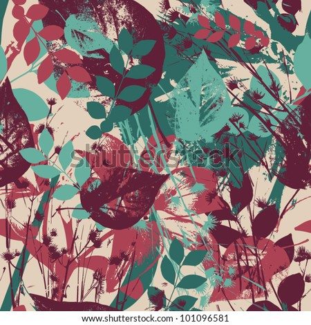 Abstract seamless pattern with leaves and flowers  Background with flowers grunge texture