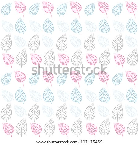 Abstract seamless pattern with leaves. Blue, pink, gray, white paper. Summer  background.