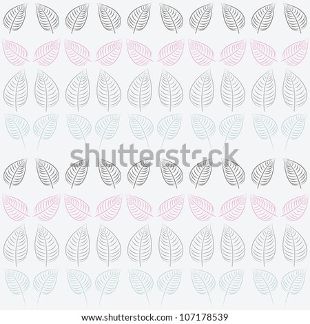 Abstract seamless pattern with leaves. Pastel blue, pink, gray paper. Summer  background.