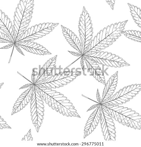 Abstract seamless pattern with Marijuana leaves - stock vector