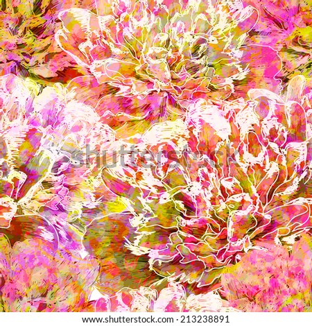 Abstract seamless pattern with peony flowers. Vector, EPS 10  - stock vector