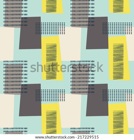 Abstract seamless pattern with rectangles^ lines and dots. Vintage style geometry pattern. - stock vector