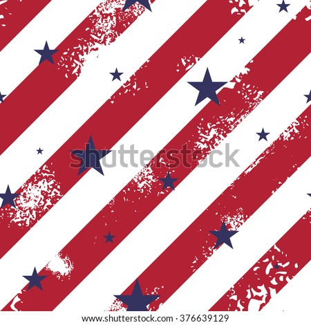 Abstract seamless pattern with red lines and blue stars - stock vector