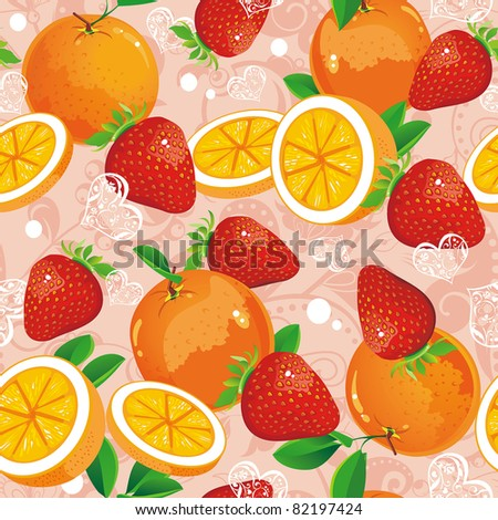 Abstract Seamless pattern with strawberry and oranges. Stylish ornamental vector illustration. Sweet texture.