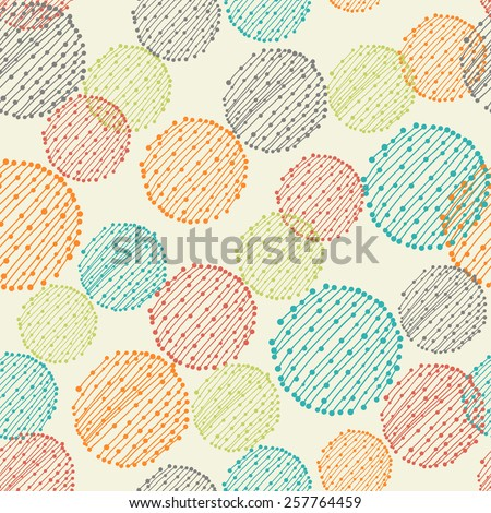 abstract seamless pattern with striped round shapes - stock vector