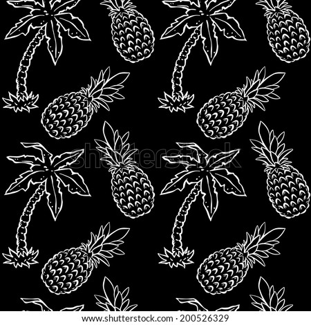 Abstract seamless pattern with tropical coconut palm trees and pineapples in black and white. Floral repeating monochrome background. Endless print texture. Fabric design. Wallpaper - vector  - stock vector
