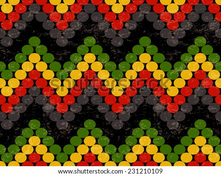 Abstract Seamless Pattern with Zig Zag Lines in Rasta Colors. Vector Illustration - stock vector