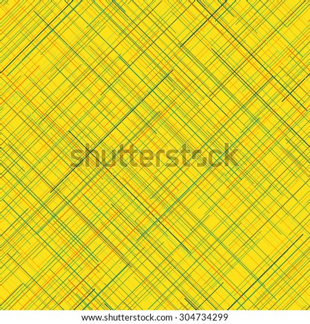 Abstract seamless pattern. Yellow background. Plaid Fabric texture. Diagonal random lines. Vivid colors. Checkered. Endless repetition. For decoration. Backdrop. For wallpaper or printing on fabric. - stock vector