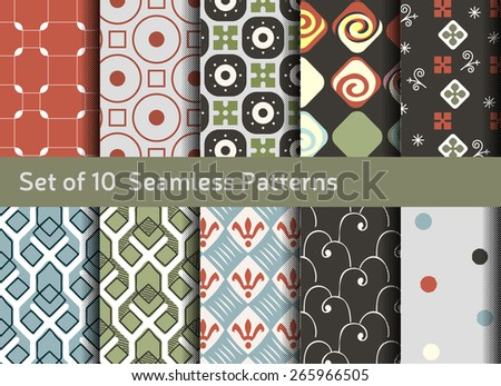 Abstract seamless patterns. Geometrical and ornamental motifs. Conservative retro style - stock vector