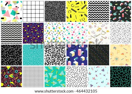 Abstract seamless patterns 80's-90's styles. Trendy memphis style. Colorful geometric background set.