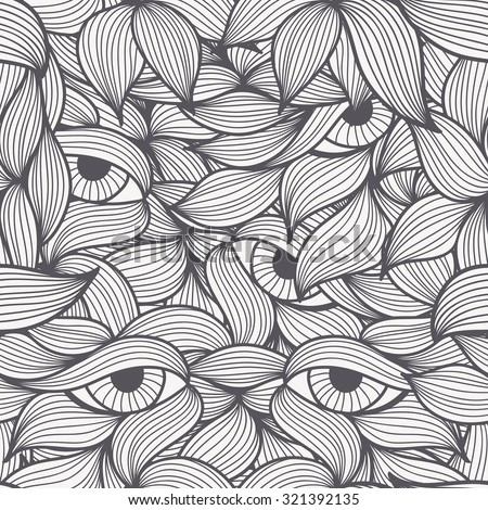 Abstract seamless patterns with stylized leaves and dolorous  eyes. Hand-drawn wavy style. Monochrome (black and white). Can be used for textile products, wrapping, packaging etc.