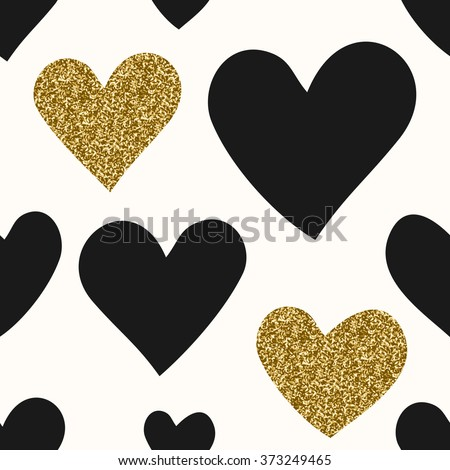 Abstract seamless repeating pattern with hearts in black and gold glitter. Modern and stylish romantic design poster, wrapping paper, Valentine card design. - stock vector