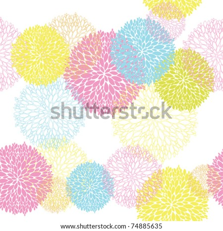 Abstract Seamless spring or summer flower colorful  pattern - stock vector