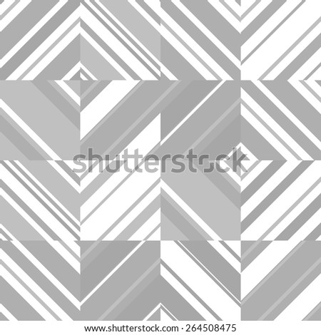 Abstract seamless striped bright geometric pattern in grey colors. - stock vector