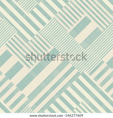 Abstract seamless striped geometric pattern on texture background in turquoise and beige. Endless pattern can be used for ceramic tile, wallpaper, linoleum, textile, web page background.