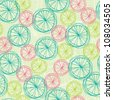 Abstract seamless swirl summer pattern. Circle orange and lemon segments texture - stock vector
