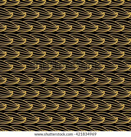 Abstract seamless texture, seamless pattern with hairstyle or graphic stylized waves. Gold ornamental vector with black background.