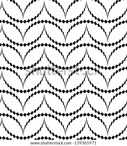 Abstract seamless vector black and white pattern with thorny semicircles - stock vector