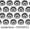 Abstract seamless vector black and white thorny pattern with stylized explosions - stock photo
