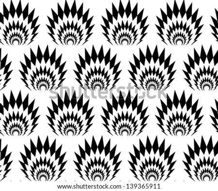 Abstract seamless vector black and white thorny pattern with stylized explosions - stock vector