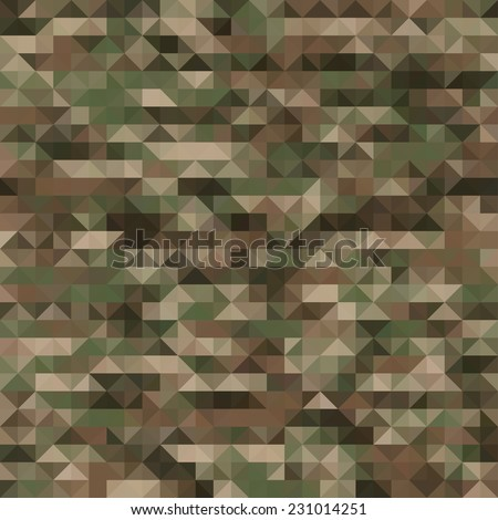 Abstract Seamless Vector Military Camouflage Background Made of Geometric Triangles Shapes - stock vector