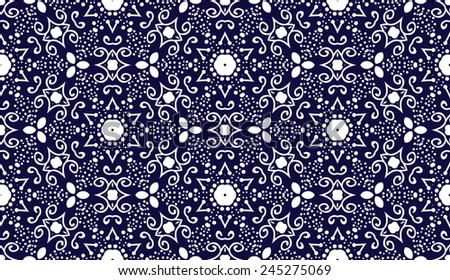 Abstract seamless vector pattern, lace fabric, soft blue Christmas background with snowflakes elements, wrapping - stock vector