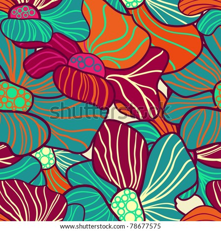 Abstract seamless vector pattern with bright flowers - stock vector