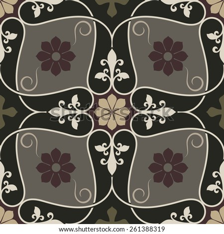 Abstract seamless vintage flower vector pattern. - stock vector