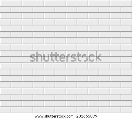 Abstract seamless white flat brick wall. Vector illustration - stock vector