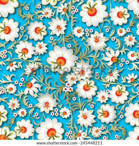 abstract seamless white floral ornament and shadow on light blue background - stock vector
