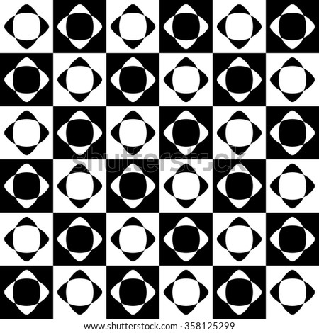Abstract seamlessly repeatable pattern with checkered tiles. Monochrome, simple minimal geometric background. Vector - stock vector