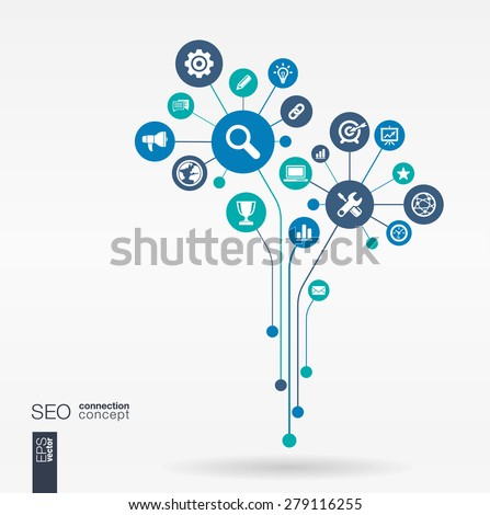 Abstract SEO background - connected circles, integrated flat icons. Growth flower idea with network, digital, connect, analytics, social media and market concepts. Vector interactive illustration - stock vector
