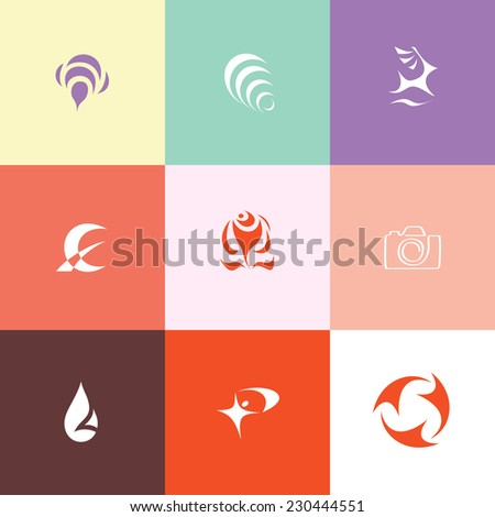 Abstract set. Flat color vector icons. - stock vector